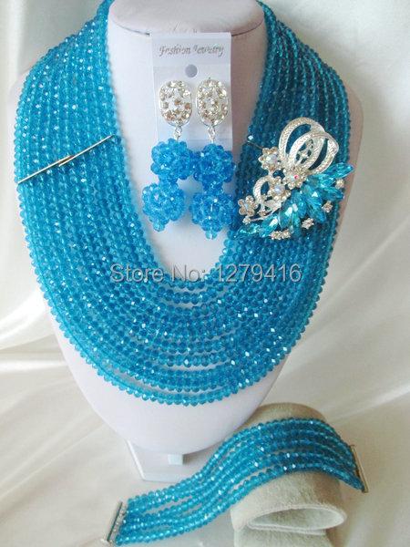 Fashion Nigerian African Wedding Beads Jewelry Set , Crystal Necklace Bracelet Earrings Set C1001<br><br>Aliexpress