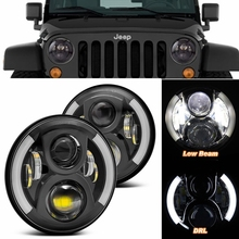 50W7 inch Inch Round CREES LED Halo Headlights Bulb Lamp Jeep Wrangler JK TJ LJ Hummer H1 H2 Headlamp Projector DRL (DOT E9) - Manufacturer Led Auto Parts store