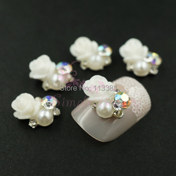 2 Vintage 9x10mm Alloy Nail Art Manicure Cellphone Case Cover Decoration DIY Charms Metal White Flower AB Rhinestones - Simple Beauty store