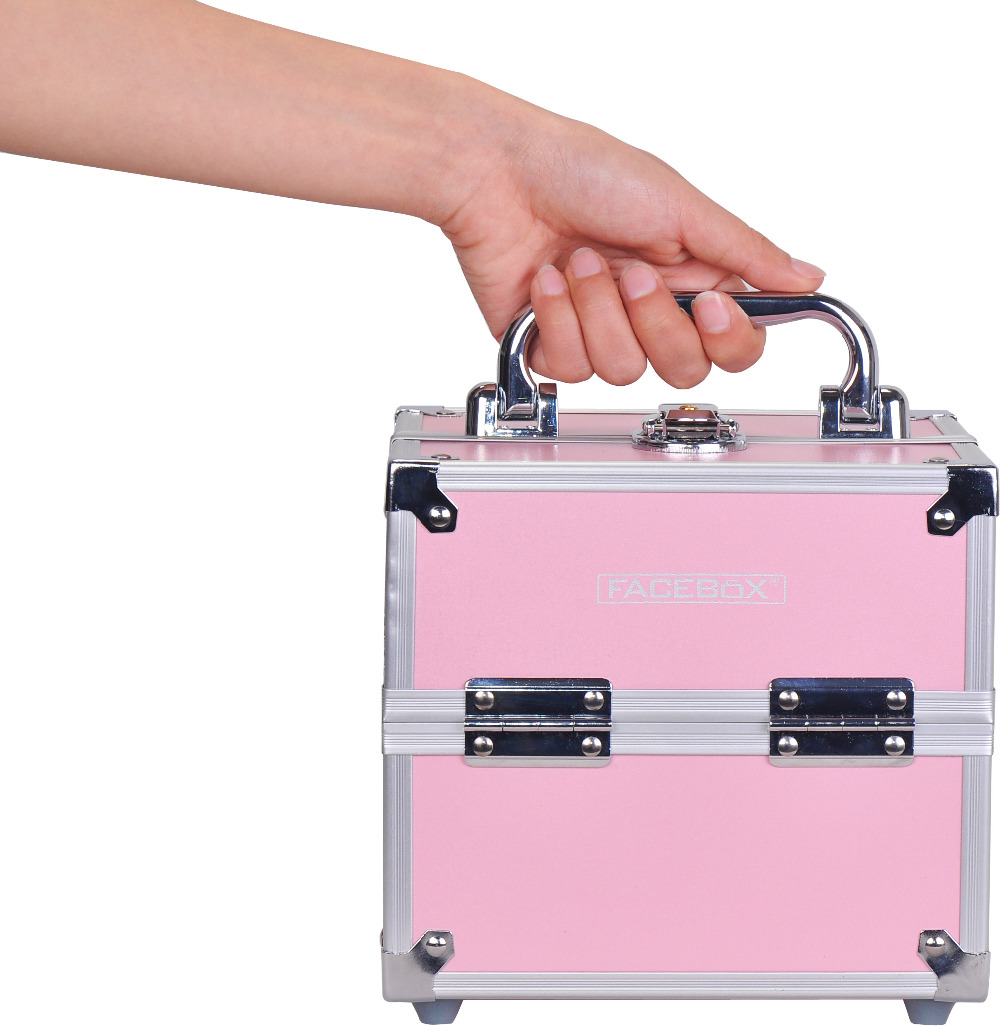 Hot Sale Professional Aluminium alloy Make up Box Makeup Case Beauty Case Cosmetic Bag Multi Tiers Lockable Jewelry Box(China (Mainland))