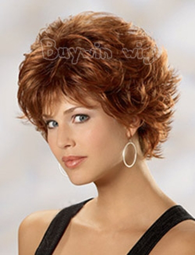 Wholesales Price Synthetic Free Shipping 2014 fashionable Brown Short Curly Celebrity Synthetic Hair Wig For Black Women(China (Mainland))