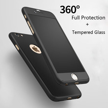 360 Degree Luxury Fashion Full Cover Matte Case For iPhone 6s Cases 6 Plus Tempered Glass For iPhone 7 Case Plus Phone Cases P13(China (Mainland))