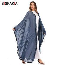 Siskakia негабаритная Абая для мусульманских женщин серый синий мода кружева лоскутное Бисероплетение халаты кардиган Jubah Весна 2019 женский(China)