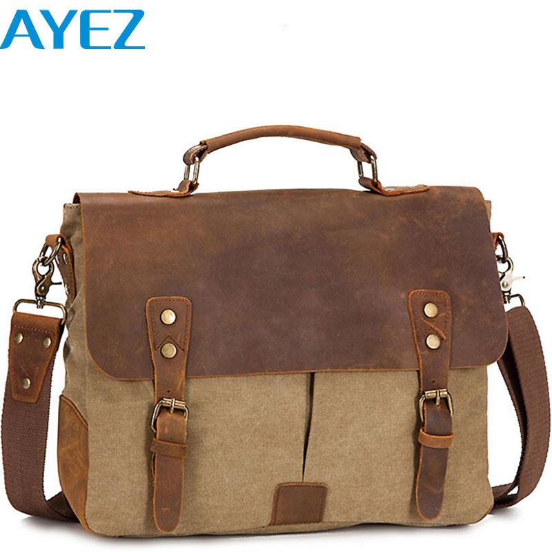 Ayez! Men messenger bags men leather Handbag tote Briefcase Vintage Crossbody Bag Canvas+Genuine Leather shoulder bags LM3353yz(China (Mainland))