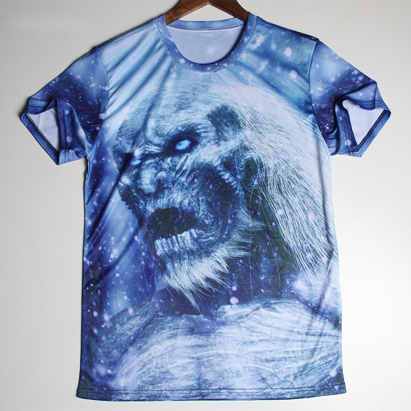 New Skull Printed 3D T Shirts Game Of Thrones Men Tshirts O Neck Top Tees Casual Wolf Clothing Novelty Style T-shirts(China (Mainland))
