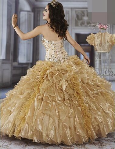 Free Shipping DEQC083 Sweetheart Beaded Lace Up Gold Quinceanera Dresses Sweet 15 Dresses Masquerade Dress Debutante Dress(China (Mainland))