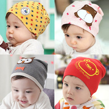 Retail 1-3 years old boys and girls summer spring baby hats,21 colors cotton animal printed infant caps kids knitted cap     095