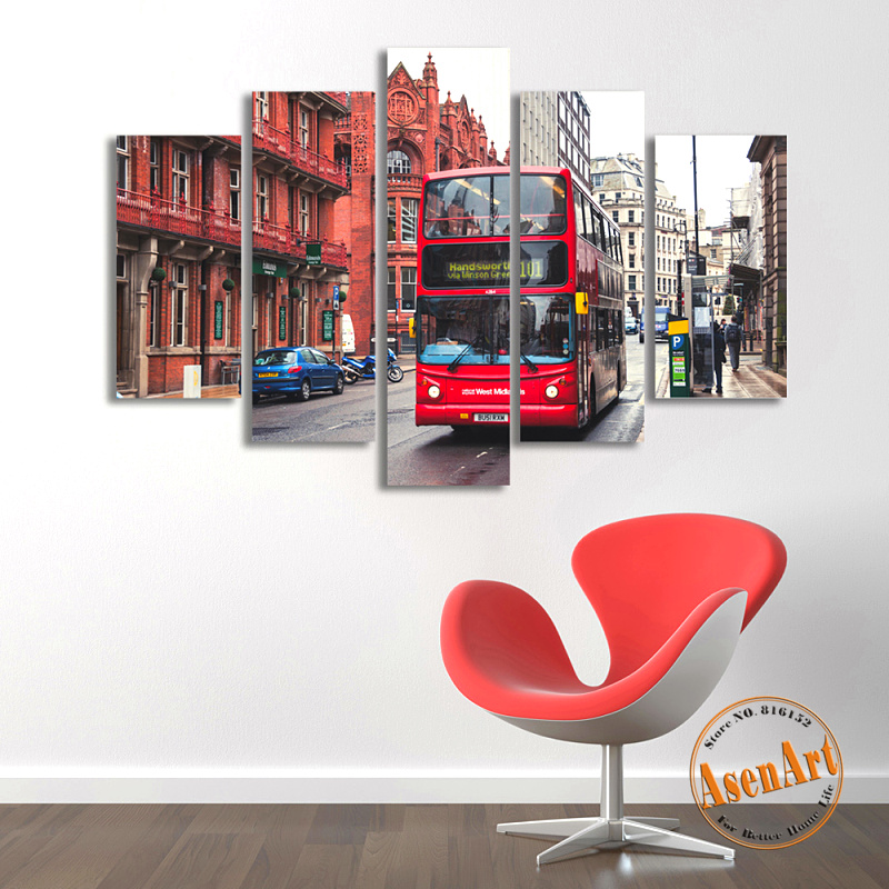 5 Panel Wall Canvas Street Bus London Painting Modern Home on the Canvas Prints Artwork Picture for Living Room Unframed(China (Mainland))