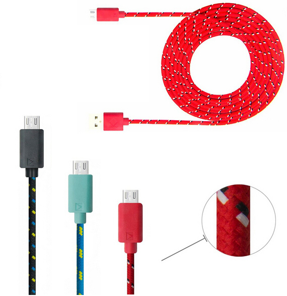 Colorful New 1M Fabric Nylon Braided Micro USB Cable for Samsung For Blackberry for HTC Cloth braided USB Cord Charger Cable(China (Mainland))