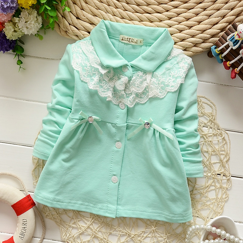 4pc/lot wholesale girls blouses cotton autumn long-sleeved baby shirts lace bow princess style kids clothes factory qk207(China (Mainland))