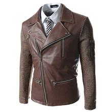 Fashion Mens Leather Biker Jackets Long Sleeve Mandarin Collar Leather Jackets Men Comfort Casual Outdoor Jackets Coats(China (Mainland))