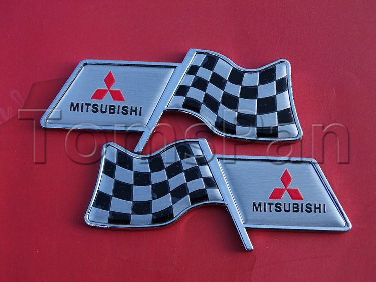 Free shipping 2pcs aluminum plating square flag 3d auto car racing decorative emblem fender stickers for mitsubishi accessories(China (Mainland))