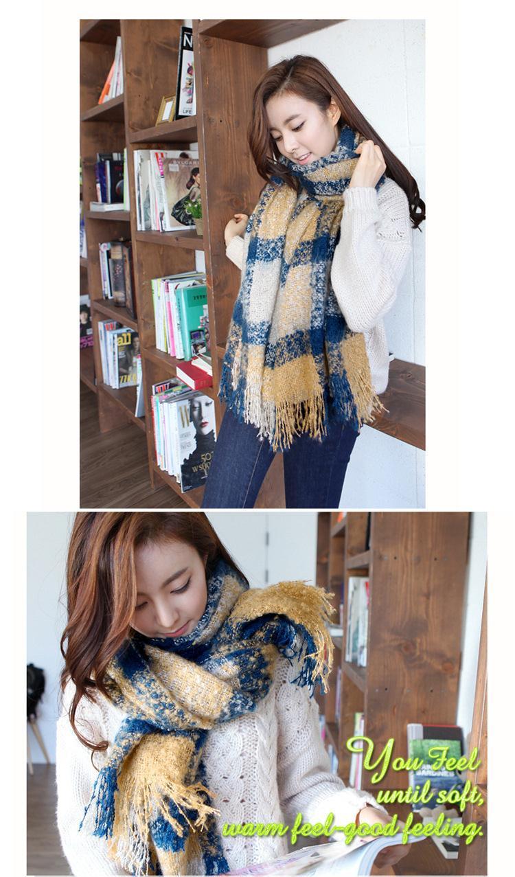 Winter Mujer Scarves Super Thicken Women Wraps Mohair Bufandas Khaki Plaid Feminina Warm Fashion Casual Fleece Soft Scarf J015