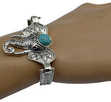 4 Designs Vintage Bohemia Owl / Hand Of Fatima Elephant Moon Shape Turquoise Stone Bracelet Bangles pulseiras Fashion Jewelry(China (Mainland))