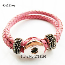 Buy 2015 Hot Leather Bracelet Fit Snaps Snap Buttons DIY Fashion Pink Real Leather Snap Jewelry Bracelets Women Gifts SB_193 for $14.06 in AliExpress store