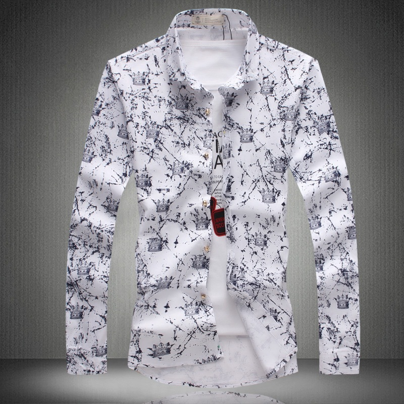 2015 Brand slim fit men shirt 100%cotton print flower camisa masculina long sleeve mens dress shirts 3 colors 5XL - Men .Ltd store