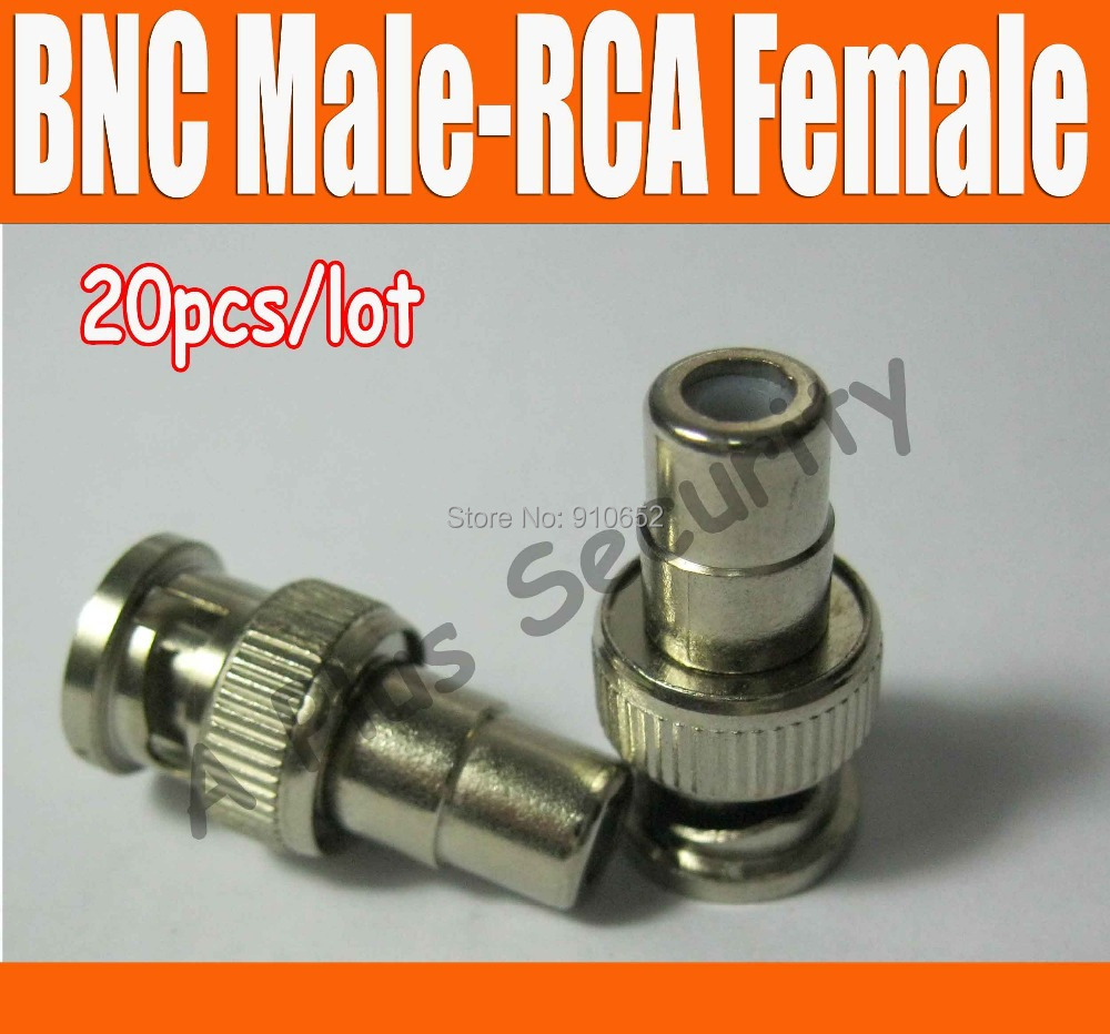 20pcs/lot BNC Male to RCA Female Jack Adapter CCTV Security Camera Connector(China (Mainland))