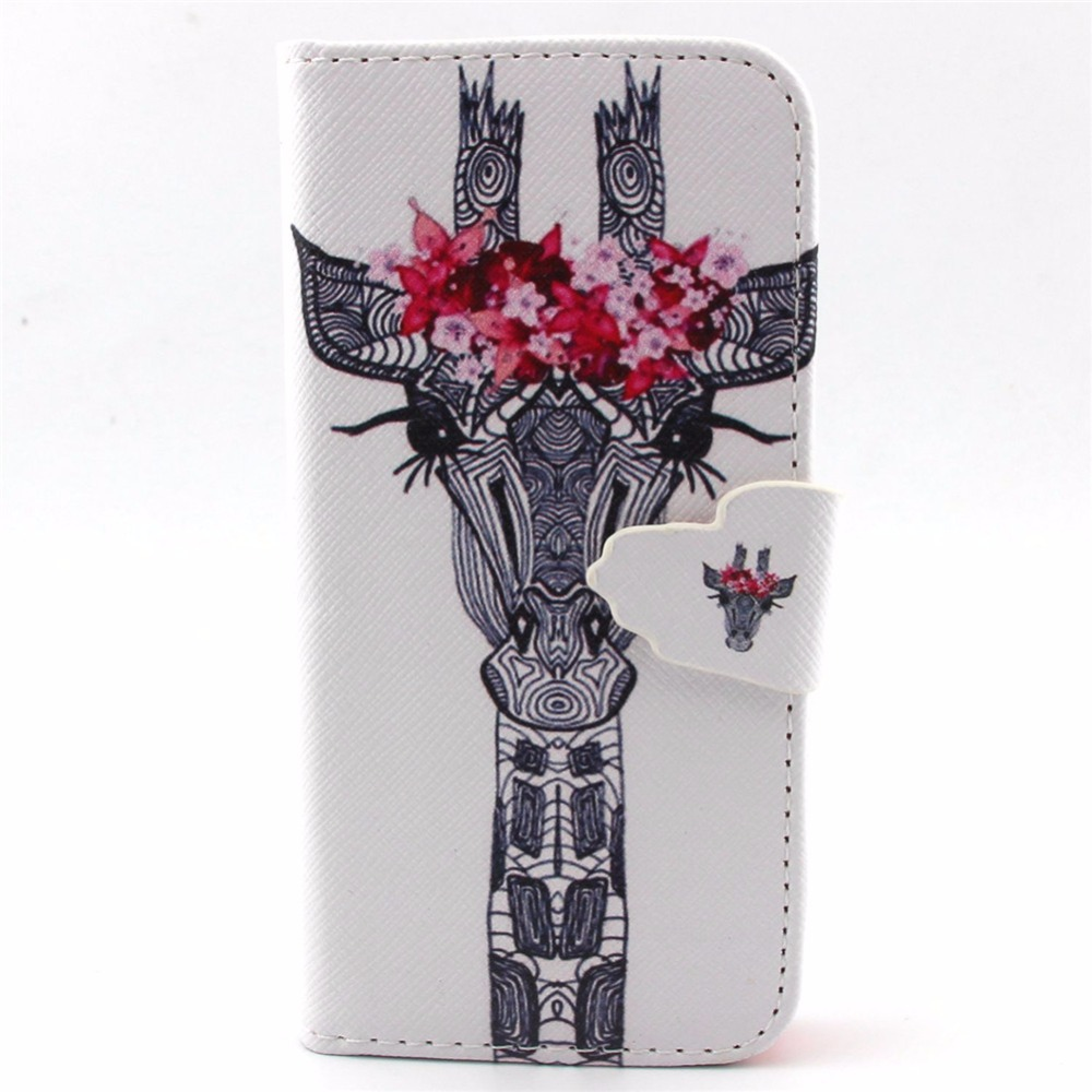 New fashion design PU leather for apple iphone 5G 5s case cover giraffe pattern flip wallet Skin card phone Protective shell(China (Mainland))
