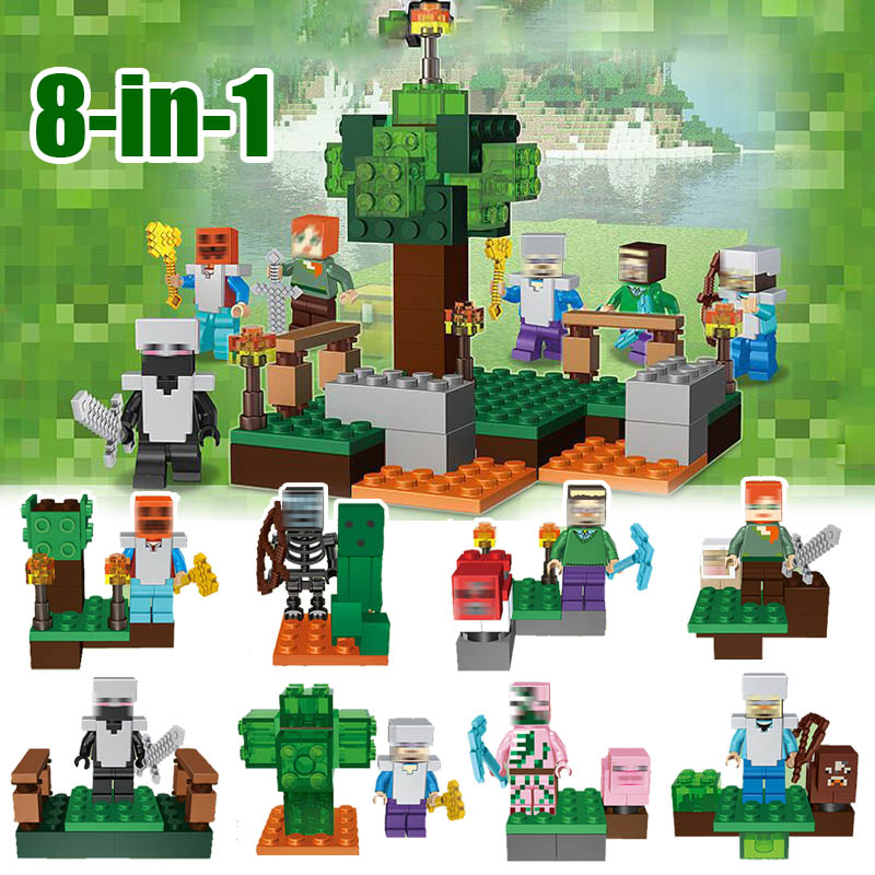 8 in 1 Game Alex Zombie Pigman Skeleton Steve Villager Minifigure Building Blocks Toys Compatible with Lego Minecrafted Factory(China (Mainland))