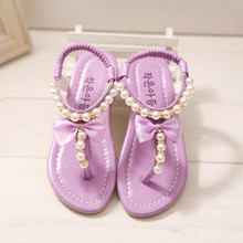 2015 High Quality Girls Sweet Flower Pearl Crystal Sandals Girl Princess Slip-On Soft Leather Beading Children Shoes 4 Colors(China (Mainland))