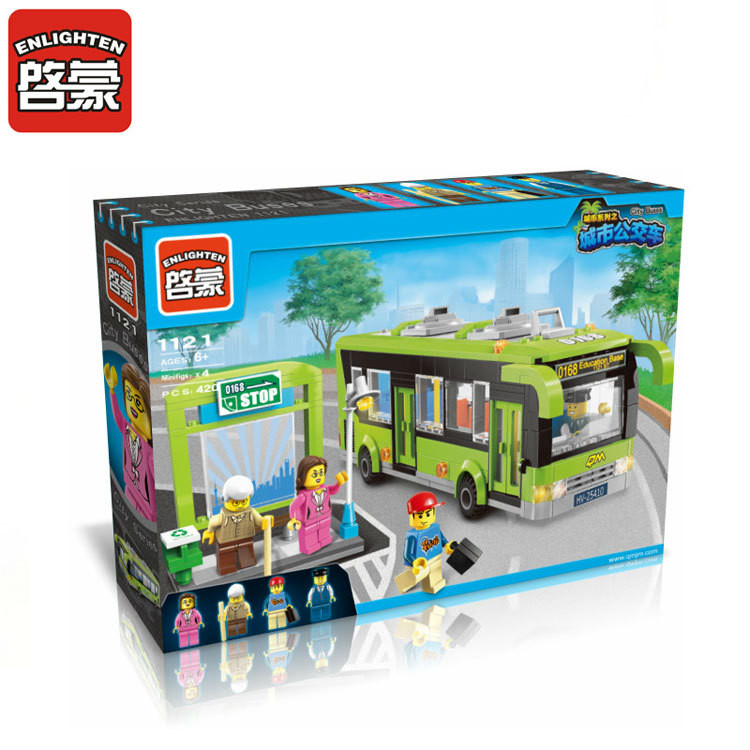 418Pcs Enlighten 1121 City Bus Station Model Building Kits Minifigure Educational Blocks Bricks Kids Toys Compatible With Legoe(China (Mainland))