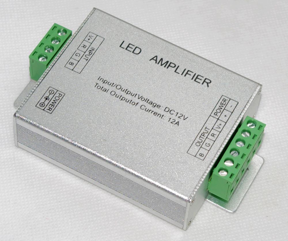 Free Shipping Led RGB Amplifier Controller input12V/24V 12A Signal Repeater 144Watt for 3528 /5050 RGB Led strip Alu box QLY(China (Mainland))