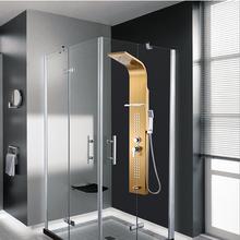 New Arrivel salle de bains 0.8 mm d'épaisseur en acier inoxydable douche à effet pluie panneau pluie système robinet avec Jets de Massage et douche à main et porte -(China (Mainland))