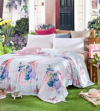 Princess Girls Floral Bed Linen Modal Fiber Summer Quilts Bedding Blanket Bedclothes Thin Comforter Home Textile DHL Free Ship(China (Mainland))