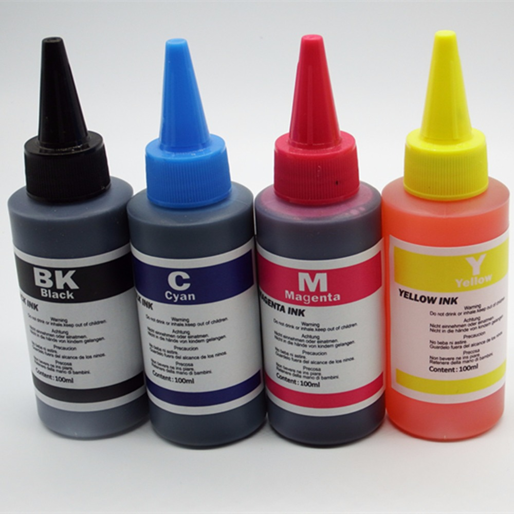 wholesale Sale 4 PCS 1 SET 100ML Refill ink for HP USED to all HP printer ink General ink ( High quality photo ink )(China (Mainland))