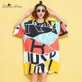 BelineRosa 2016 Fashion Women Clothing Women s European Style Colorful Show Slim Printing Women Shirts Dress