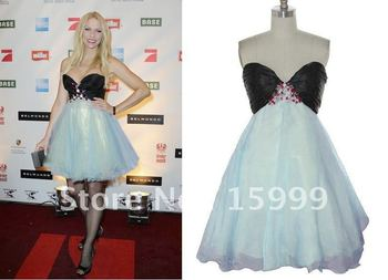 2011 Fashion Short/Mini Celebrity's Beaded Blue&Black Cocktail Prom Lady's Evening Dress JH229