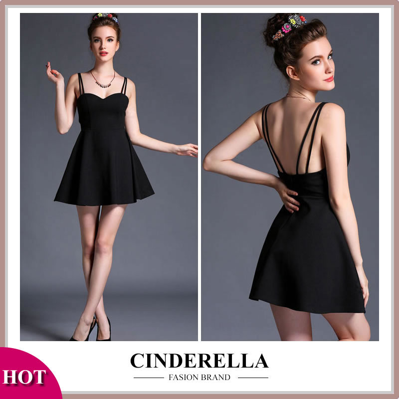 summer style Women Summer Dress 2015 New Black/ Red /White Sexy Girl Spaghetti Straps A-Line Chest Pad Women Dress V-neck Solid(China (Mainland))