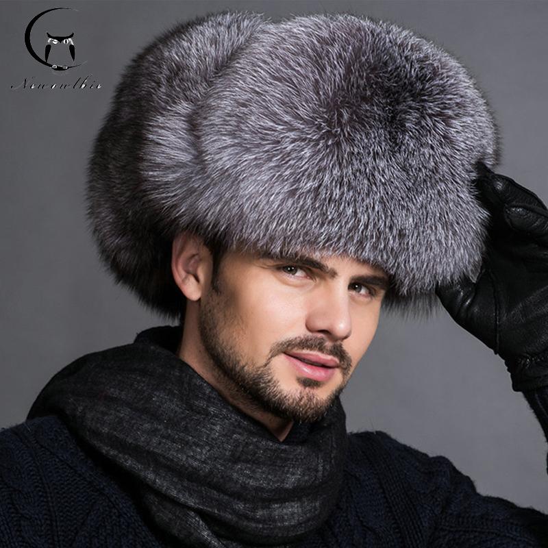 Hot high-end luxury fur hat Men's fox fur hat Lei Feng cap ear cap outdoor fur Ski necessary hat(China (Mainland))