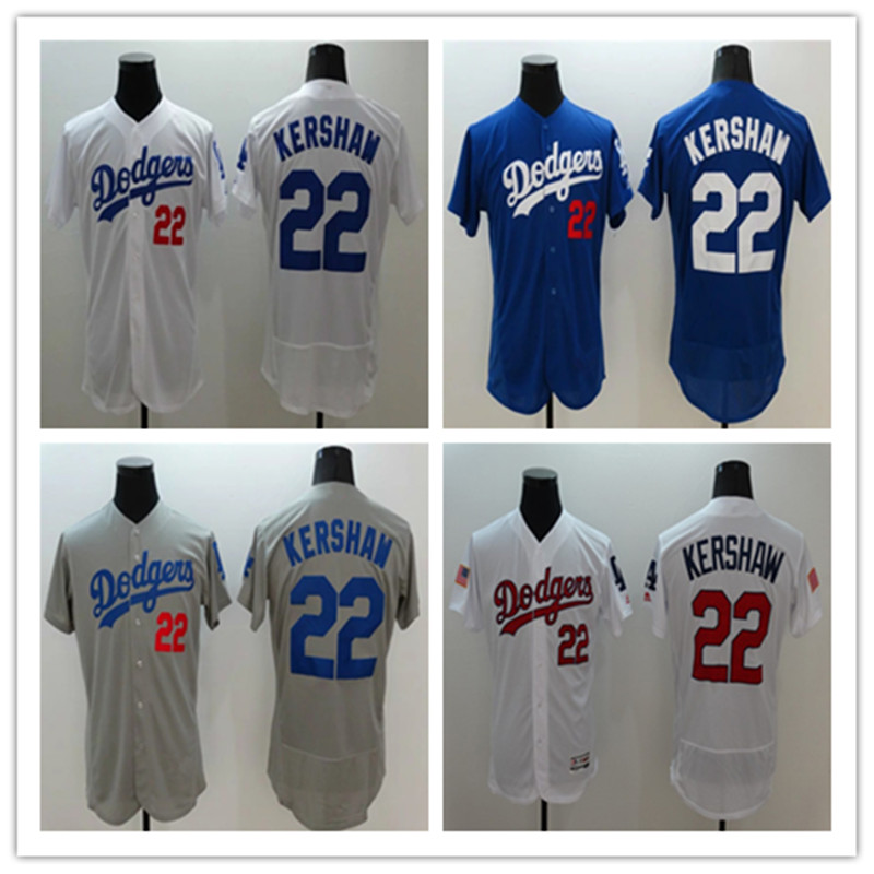 2016 New Arrival Flexbase men's #22 Clayton Kershaw Home Road Alternate Sewn baseball jersey,Color White Blue Gray(China (Mainland))