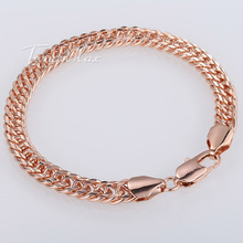 7/8mm Shiny Cut Double Curb Chain Rombo Womens Mens Chain Unisex Rose Gold Filled GF Bracelet 7-11inch Optional Gift LGB294(China (Mainland))