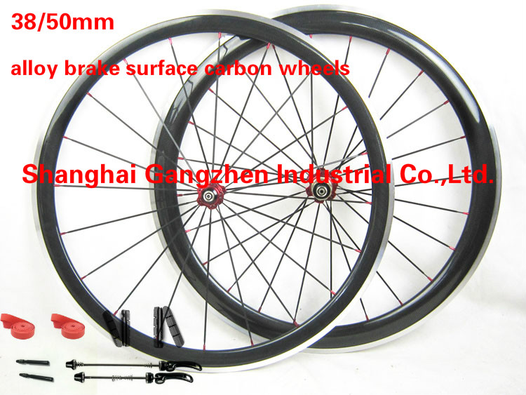 TOP Merchant 38mm Front 50mm Rear 23mm width Carbon Bike Wheels Alloy Brake Surface Bicycle Wheelset Road Bicycle Carbon Wheels(China (Mainland))
