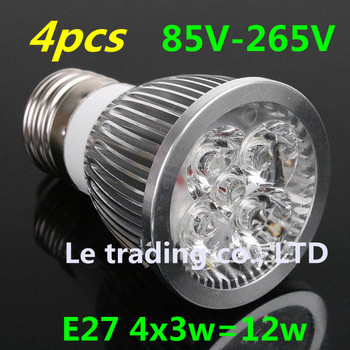 4pcs/lot Home Garden High Power Dimmable  E27 4X3W 12W LED lighting Spotlight led bulbs led lamp 85-265V free shipping