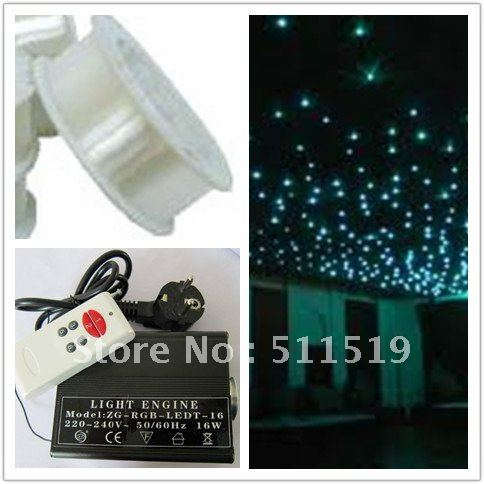 great discount--1roll 0.75mm PMMA plastic optical fiber 2700m +1pc 16W LED RGB light engine with remote(China (Mainland))