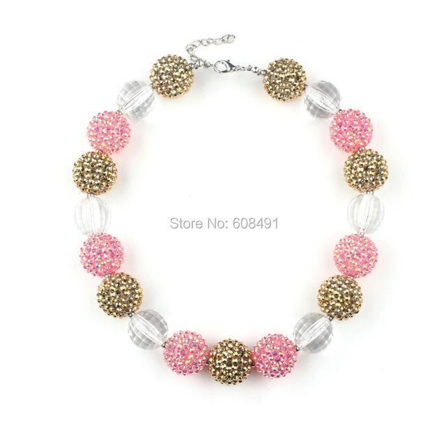 Ожерелье 1 шт. шампанское с розовый бисером коренастый горный хрусталь нежно девушки ...