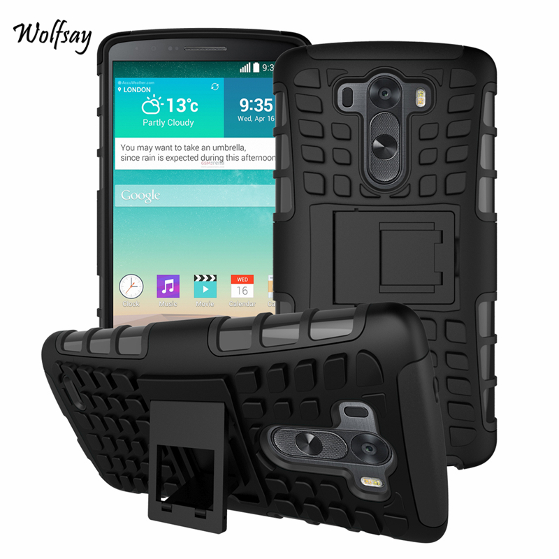 LG G3 Case D855 D850 D851 Heavy Duty Shockproof Armor Hard Silicone Rugged Rubber Phone Case LG G3 Cover Stand *<