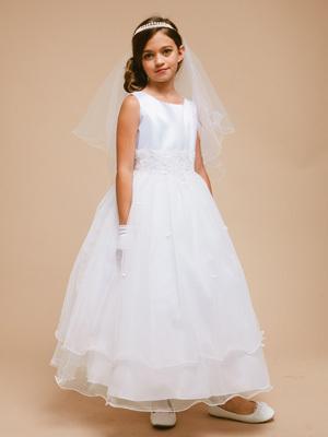 2015 nouvelle dentelle blanche perlée première Communion robes pour filles robe de Comunion Long fleur fille robes pour les mariages(China (Mainland))
