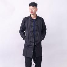 Free shippin chinese style outerwear coat 2016 new China Mens Long Black Retro wind windbreaker jackets overcoat coats promotion(China (Mainland))