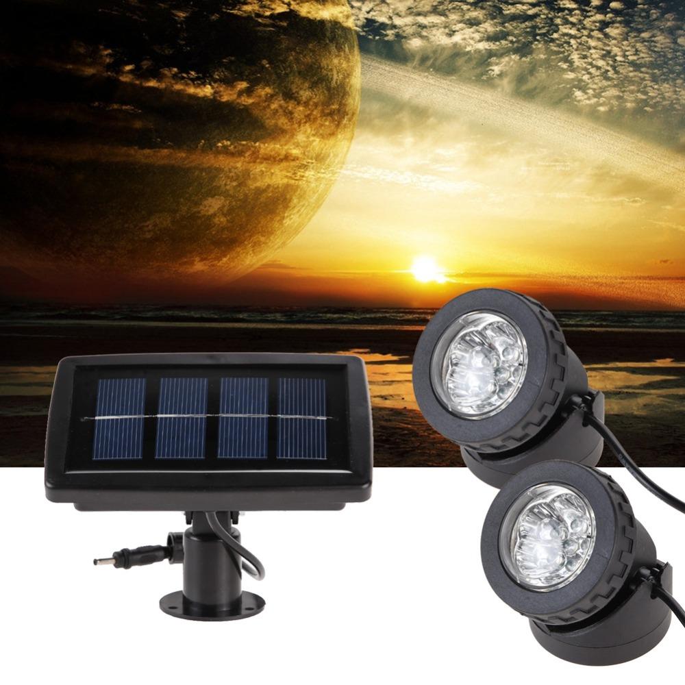 Buy solar power 2 lamp white spotlight water pool pond for Pond lights