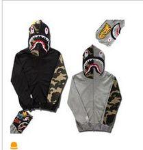 Free shipping 2016 Men's bape shark hoodies Outdoor Fashion Tracksuit Casual Hip-Hop Funny Sweatshirts Camouflage Coat