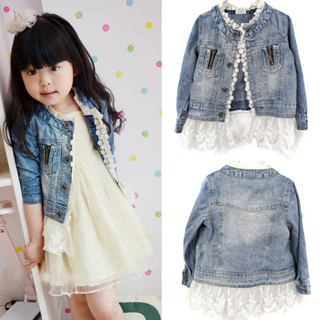 Girls Kids Lace Cowboy Jacket Denim Top Button Costume Outfits Jean Coat 2-7T(China (Mainland))
