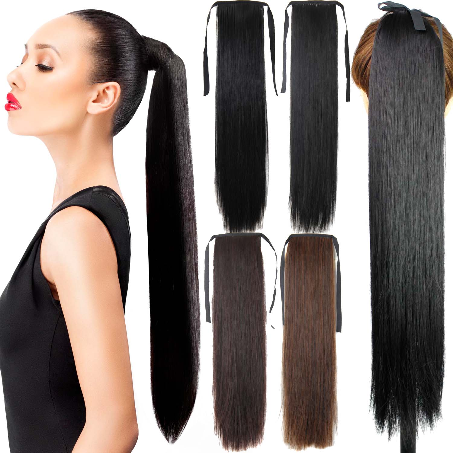 Fake Hair Ponytail 105g 22 Long Straight Hair Pieces