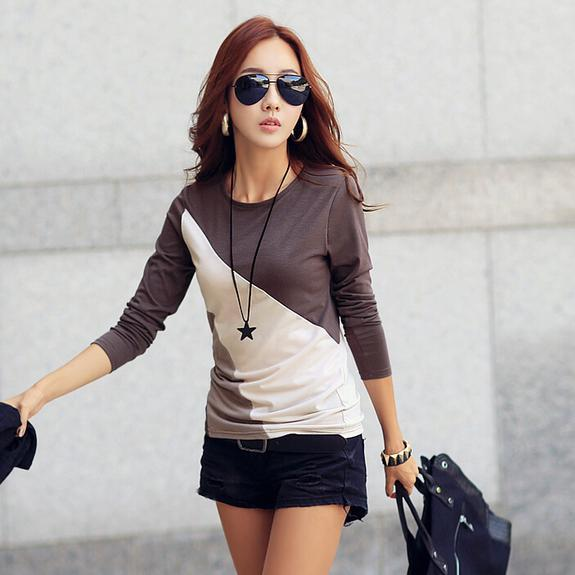 2016 Women T-shirt Long Sleeve Clothes Tee Shirt Black/Brown Ladies Casual T Shirt