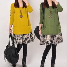 2015 New Mori Girl Kawaii Lolita Brief Korean Novelty Party Patchwork Cotton Linen Print Casual Dresses