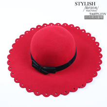 (13 Colors)High Quality 100% Wool Fashion New Vintage Women Ladies Floppy Wide Brim Wool Felt Fedora Cloche Hat Cap(China (Mainland))