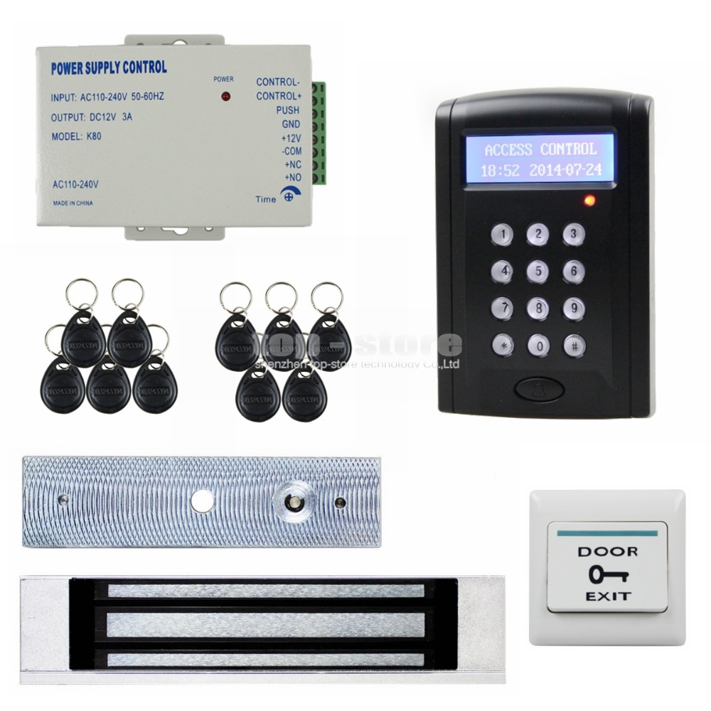 180kg Magnetic Door Lock LCD 125KHz RFID Reader Password Keypad Access Control Door Lock System Kit Security System BC200(China (Mainland))